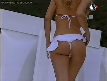 Argentinian model Sofia Zamolo white thong on the catwalk