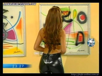 Alejandra Mora ass in black latex pants