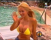 Luciana Salazar massive tits in yellow bikini