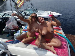 Wife tans naked on boat with friends