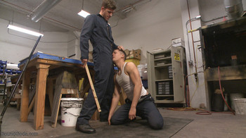 Gay bdsm stud dominates his coworker