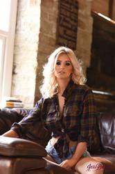 Jess Davies - White See Through Bra & Denim Shorts u6s0fc44qo.jpg