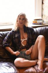 Jess Davies - White See Through Bra & Denim Shorts